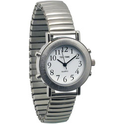 Ladies Tel-Time Chrome Talking Watch with White Dial-Expansion Band Price: $39.95