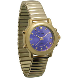 Ladies Tel-Time Gold-Colored Talking Watch with Blue Dial-Expansion Band Price: $29.95