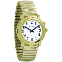 Unisex Tel-Time Talking Watch - One Button - Gold-Tone