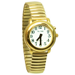 Ladies Gold One Button Talking Watch Price: $31.95
