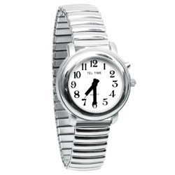Ladies Chrome One Button Talking Watch with Chrome Expansion Band Price: $34.95