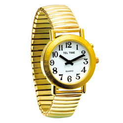Mens Gold Spanish Talking Watch - One Button Expansion Band Price: $35.95