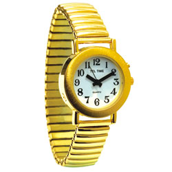 Ladies Gold-Tone Spanish Talking Watch - One Button Expansion Band
