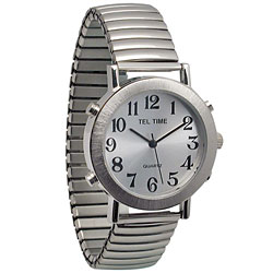 Mens Tel-Time Chrome Quartz Talking Watch with Expansion Band Price: $39.95