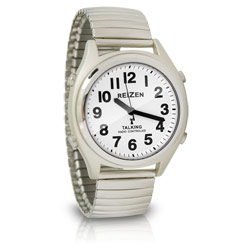 Reizen Atomic Talking Watch - White Face with Black Numbers - Expansion Band Price: $39.95