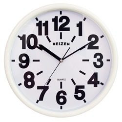 Reizen Low Vision Quartz Wall Clock - White Face, Black No. Price: $19.95
