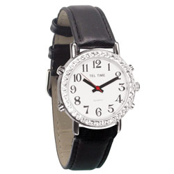 Mens Talking Watch with Rhinestone Bezel and Leather Band - English