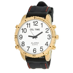 Large Dial Gold Tone Talking Vibrating Watch with Black Rubber Band - click to view larger image