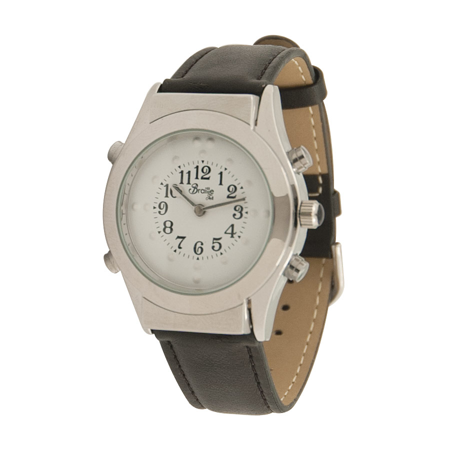 Mens Chrome Braille Talking Watch -Spanish- White Dial + Leather Band - click to view larger image