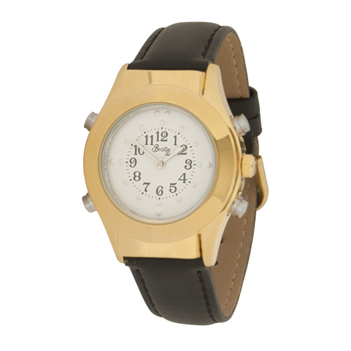 Womens Gold Braille Talking Watch-Spanish-White Dial + Leather Band
