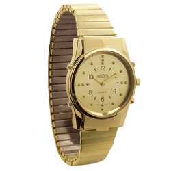 Mens Gold Braille and Talking Watch - Exp Band Price: $88.95