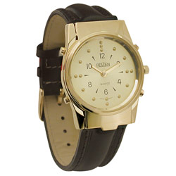 Mens Gold Braille and Talking Watch - Leather Band Price: $89.95