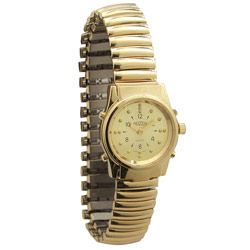 Ladies Gold Braille and Talking Watch - Exp Band Price: $89.95