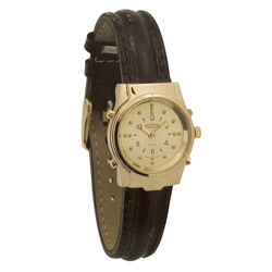 Ladies Gold Braille and Talking Watch - Leather Band Price: $69.95