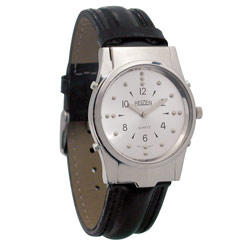 Mens Chrome Braille and Talking Watch - Leather Band Price: $69.95