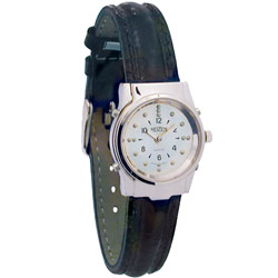 Ladies Chrome Braille and Talking Watch - Leather Band Price: $89.95