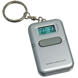 Tel-Time Spanish Talking Key Chain - Square -Silver