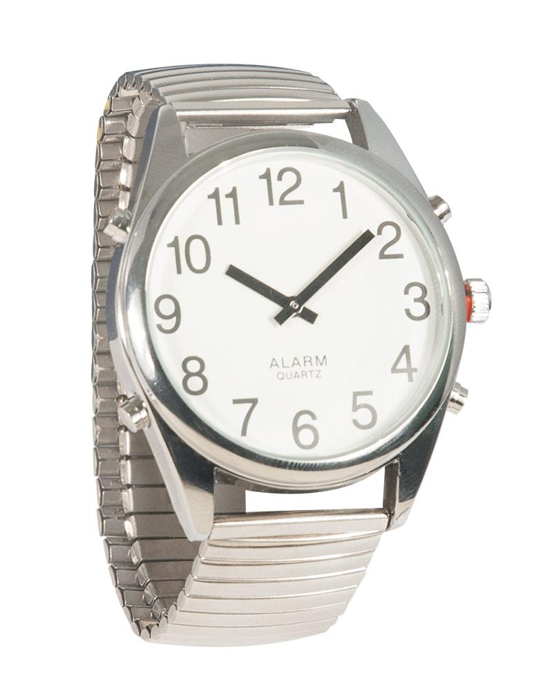 Reizen Chrome Talking Extra-Large Face Watch - Exp Band - Unisex