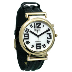 Illuminated Watch, White Dial with Black Numbers and Leather Band Price: $24.95
