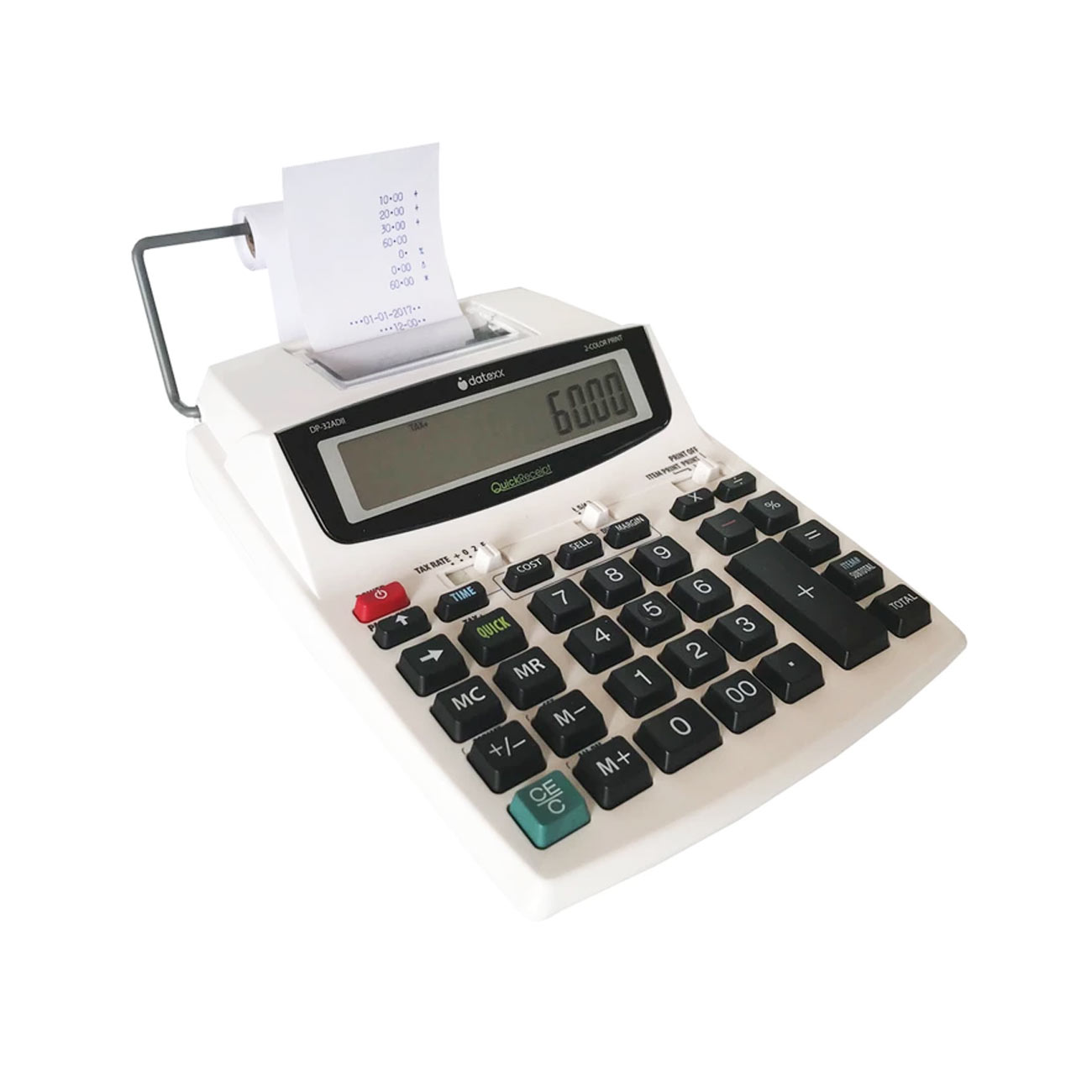 Portable 12-Digit AC-DC 2-Color Printing Calculator