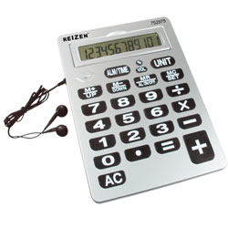 Reizen 12-Digit Jumbo Talking Calculator w-Earbuds