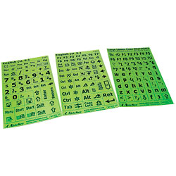 Keyboard Large Print Labels - Black on Green - Lower Case Price: $12.25