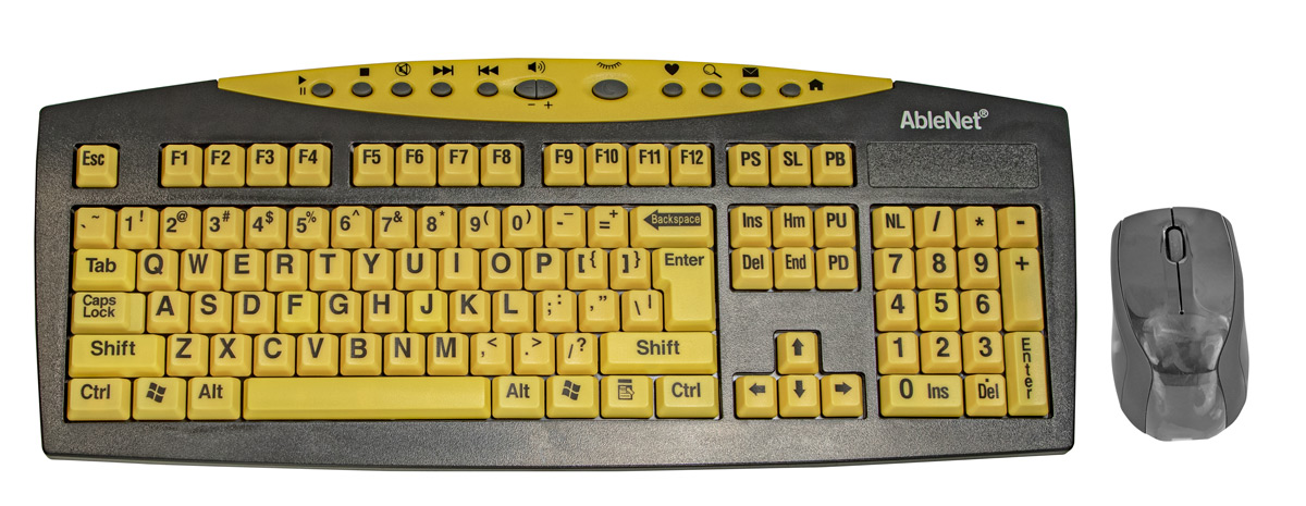 Keys-U-See Large Print Yellow Wireless Keyboard and Optical Mouse Price: $45.95