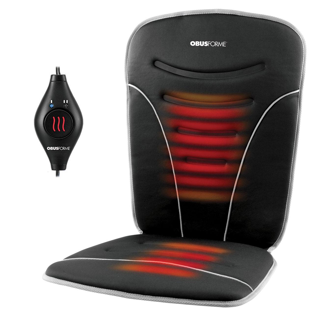 Back and Seat Heated Car Cushion- Black