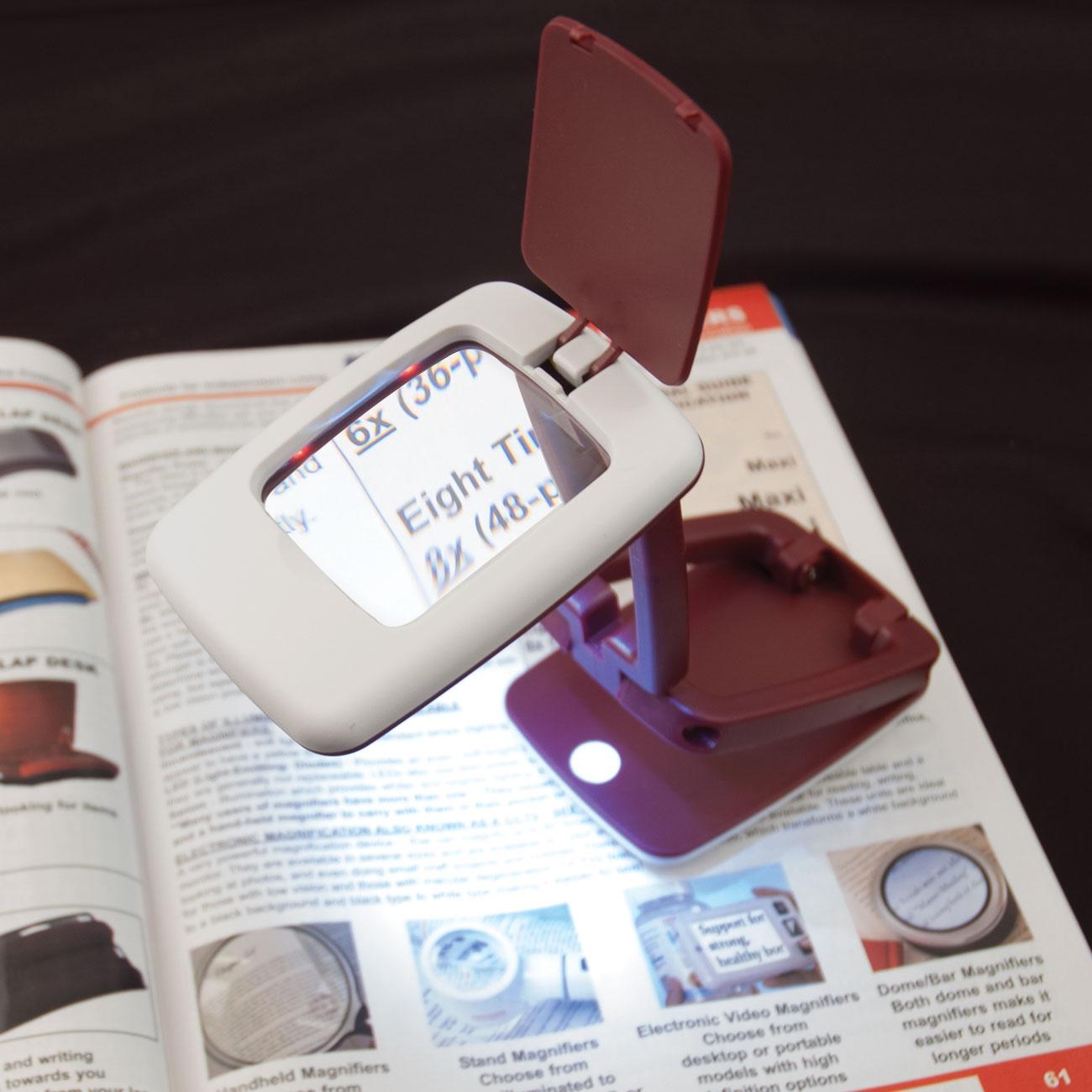 Foldable LED Desk Magnifier - 3x