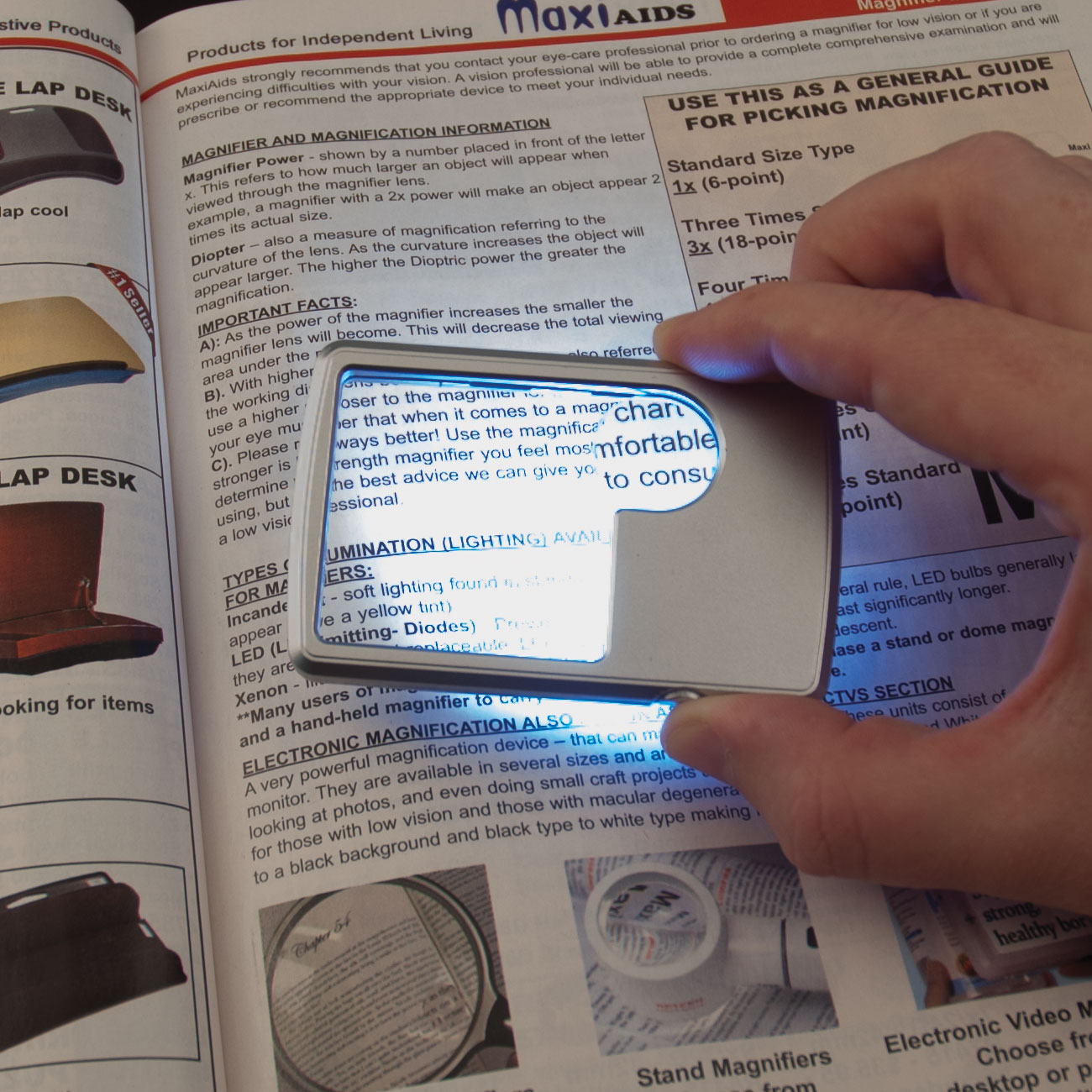 Credit Card Size Dual Power LED Magnifier - 3x + 6x