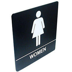 Tactile Braille Signs - Women; Bathroom