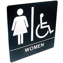 Tactile Braille Signs - Women; Handicap