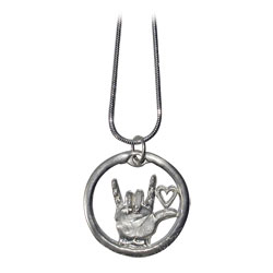 I Love You Circular Medallion with Heart and Chain - Silver Price: $12.99