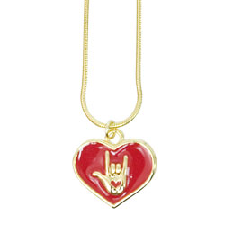 Red Heart with ILY Necklace - Goldtone Price: $12.99
