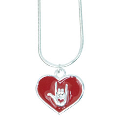 Red Heart with ILY Necklace - Silvertone Price: $12.99