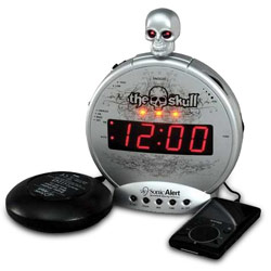 Skull with Bone Crusher Amplified Alarm-Bed Shaker Price: $44.95