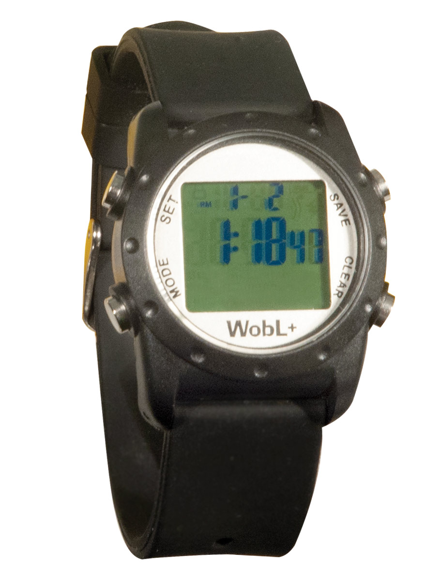 WobL+ 9-Alarm Vibrating Waterproof Reminder Watch- Black