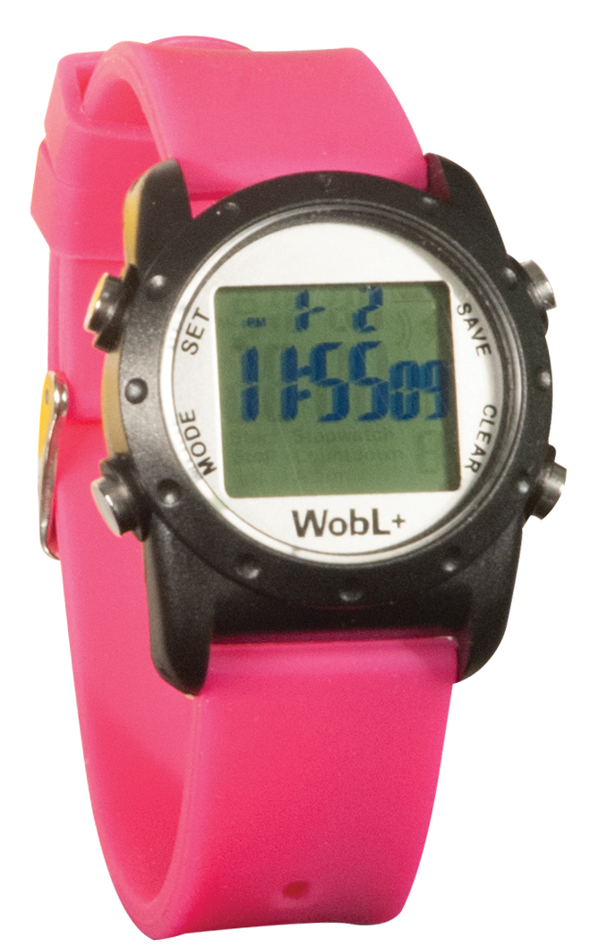 WobL+ 9-Alarm Vibrating Waterproof Reminder Watch- Pink