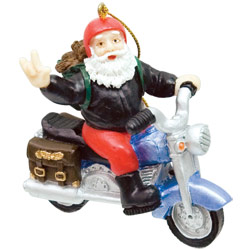 Biker Santa Ornament Price: $11.65