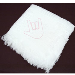Babys White Blanket with ILY Pink Hand 36 X 36