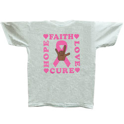 Breast Cancer w ILY -Brown Hand  Size M T Shirt