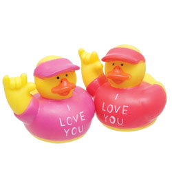 ILY I Love You Rubber Ducks -2 in a bag