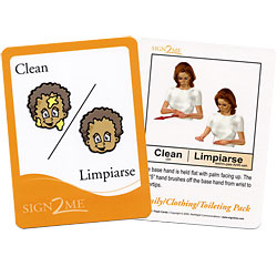Sign2Me Flash Cards- Beginners Series- Family, Clothing and Toileting Pack