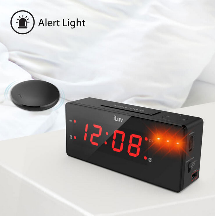 iLuv TimeShaker Boom Jumbo LED Alarm Clock with Wireless Bed Shaker