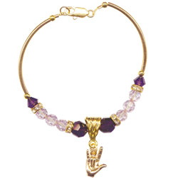 Mystique ILY Bracelet with 0.5-in. Gold-Plated Charm and Purple Beads - click to view larger image