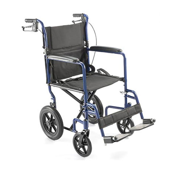 19 Inch Deluxe Aluminum Transport Chair - Blue