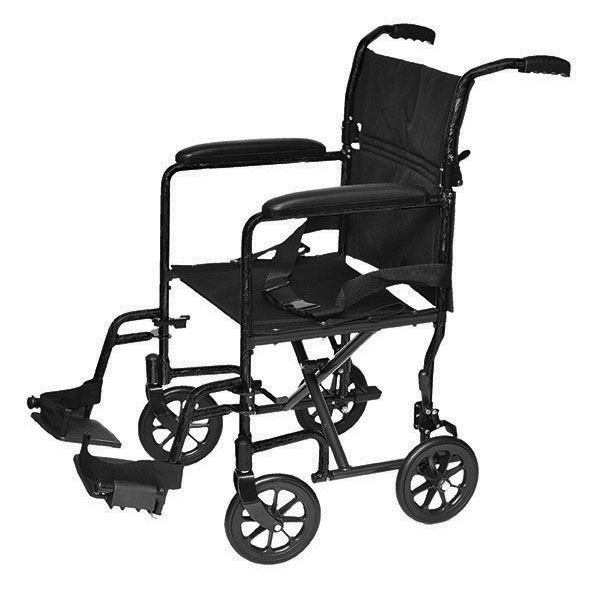 19 inch by 16 inch Aluminum Transport Chair - Black