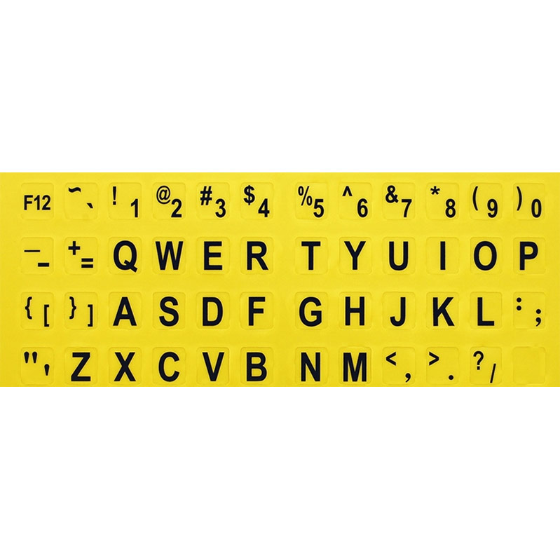 Large Print Keyboard Overlay - Black on Yellow