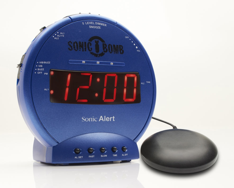 Sonic Bomb Alarm Clock and Bed Shaker- Blue