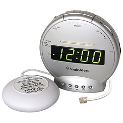 Sonic Alert Clock with Bed Shaker and Phone Signaler Price: $37.95